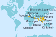 Visitando Venecia (Italia), Bari (Italia), Argostoli (Grecia), Salalah (Omán), Mormugao (India), Colombo (Sri Lanka), Phuket (Tailandia), Langkawi (Malasia), Penang (Malasia), Port Klang (Malasia), Singapur, Ko Samui (Tailandia), Laem Chabang (Bangkok/Thailandia), Laem Chabang (Bangkok/Thailandia), Sihanoukville (Camboya), Singapur