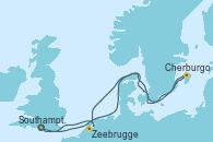 Visitando Southampton (Inglaterra), Cherburgo (Francia), Zeebrugge (Bruselas), Southampton (Inglaterra)