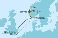 Visitando Southampton (Inglaterra), Eidfjord (Hardangerfjord/Noruega), Stavanger (Noruega), Flam (Noruega), Kristiansand (Noruega), Southampton (Inglaterra)