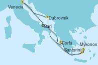 Visitando Bari (Italia), Corfú (Grecia), Santorini (Grecia), Mykonos (Grecia), Dubrovnik (Croacia), Venecia (Italia), Bari (Italia)