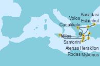 Visitando Atenas (Grecia), Estambul (Turquía), Estambul (Turquía), Canakkale (Turquía), Volos (Grecia), Heraklion (Creta), Santorini (Grecia), Mykonos (Grecia), Mykonos (Grecia), Atenas (Grecia), Kusadasi (Efeso/Turquía), Rodas (Grecia), Heraklion (Creta), Santorini (Grecia), Santorini (Grecia), Milos (Grecia), Mykonos (Grecia), Mykonos (Grecia), Atenas (Grecia)