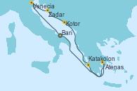 Visitando Bari (Italia), Venecia (Italia), Zadar (Croacia), Kotor (Montenegro), Katakolon (Olimpia/Grecia), Atenas (Grecia), Bari (Italia)