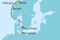 Visitando Copenhague (Dinamarca), Warnemunde (Alemania), Bergen (Noruega), Molde (Noruega), Hellesylt (Noruega), Copenhague (Dinamarca)
