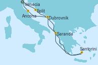 Visitando Venecia (Italia), Split (Croacia), Santorini (Grecia), Sarande (Albania), Dubrovnik (Croacia), Ancona (Italia), Venecia (Italia)