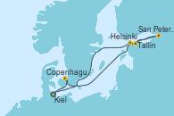 Visitando Kiel (Alemania), Copenhague (Dinamarca), Helsinki (Finlandia), San Petersburgo (Rusia), Tallin (Estonia), Kiel (Alemania)