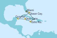 Visitando Miami (Florida/EEUU), Ocho Ríos (Jamaica), Gran Caimán (Islas Caimán), Cozumel (México), Ocean Cay MSC Marine Reserve (Bahamas), Miami (Florida/EEUU)