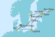 Visitando Copenhague (Dinamarca), Visby (Suecia), Estocolmo (Suecia), Tallin (Estonia), San Petersburgo (Rusia), San Petersburgo (Rusia), Helsinki (Finlandia), Gdynia (Polonia), Kiel (Alemania), Copenhague (Dinamarca)