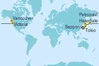 Visitando Tokio (Japón), Hakodate (Japón), Sapporo (Japón), Petropavlosk (Rusia), Victoria (Canadá), Vancouver (Canadá)
