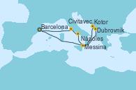 Visitando Barcelona, Dubrovnik (Croacia), Kotor (Montenegro), Messina (Sicilia), Nápoles (Italia), Civitavecchia (Roma), Barcelona