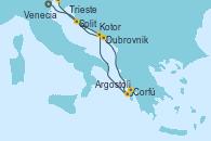 Visitando Venecia (Italia), Dubrovnik (Croacia), Corfú (Grecia), Argostoli (Grecia), Kotor (Montenegro), Split (Croacia), Trieste (Italia)