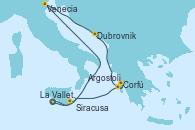 Visitando La Valletta (Malta), Siracusa (Sicilia), Venecia (Italia), Dubrovnik (Croacia), Corfú (Grecia), Argostoli (Grecia), La Valletta (Malta)