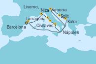 Visitando Tarragona (España), Niza (Francia), Livorno, Pisa y Florencia (Italia), Civitavecchia (Roma), Nápoles (Italia), Venecia (Italia), Venecia (Italia), Split (Croacia), Kotor (Montenegro), Barcelona
