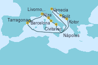 Visitando Barcelona, Niza (Francia), Livorno, Pisa y Florencia (Italia), Civitavecchia (Roma), Nápoles (Italia), Venecia (Italia), Venecia (Italia), Split (Croacia), Kotor (Montenegro), Tarragona (España)