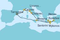 Visitando Tarragona (España), Cannes (Francia), Livorno, Pisa y Florencia (Italia), Civitavecchia (Roma), Messina (Sicilia), Kusadasi (Efeso/Turquía), Mykonos (Grecia), Santorini (Grecia), Atenas (Grecia), Tarragona (España)