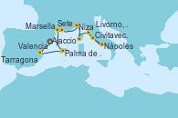 Visitando Tarragona (España), Valencia, Palma de Mallorca (España), Sete (Francia), Marsella (Francia), Niza (Francia), Ajaccio (Córcega), Livorno, Pisa y Florencia (Italia), Nápoles (Italia), Civitavecchia (Roma)