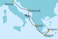 Visitando Bari (Italia), Santorini (Grecia), Chania (Creta/Grecia), Corfú (Grecia), Dubrovnik (Croacia), Venecia (Italia)