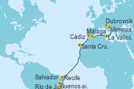 Visitando Buenos aires, Río de Janeiro (Brasil), Salvador de Bahía (Brasil), Recife (Brasil), Santa Cruz de Tenerife (España), Cádiz (España), Málaga, La Valletta (Malta), Dubrovnik (Croacia), Venecia (Italia)