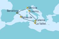 Visitando Barcelona, Palma de Mallorca (España), La Valletta (Malta), Catania (Sicilia), Livorno, Pisa y Florencia (Italia), Génova (Italia), Barcelona