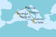 Visitando Génova (Italia), Barcelona, Palma de Mallorca (España), La Valletta (Malta), Catania (Sicilia), Civitavecchia (Roma), Génova (Italia)