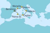 Visitando Barcelona, Palma de Mallorca (España), Cagliari (Cerdeña), Civitavecchia (Roma), Savona (Italia), Marsella (Francia), Barcelona