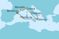 Visitando Barcelona, Palma de Mallorca (España), Palermo (Italia), Civitavecchia (Roma), Savona (Italia), Marsella (Francia), Barcelona