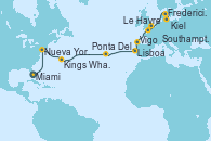 Visitando Miami (Florida/EEUU), Nueva York (Estados Unidos), Kings Wharf (Bermudas), Ponta Delgada (Azores), Ponta Delgada (Azores), Lisboa (Portugal), Vigo (España), Southampton (Inglaterra), Le Havre (Francia), Fredericia (Dinamarca), Kiel (Alemania)