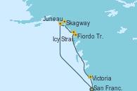 Visitando San Francisco (California/EEUU), Juneau (Alaska), Skagway (Alaska), Icy Strait Point (Alaska), Fiordo Tracy Arm (Alaska), Victoria (Canadá), San Francisco (California/EEUU)