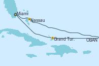Visitando Miami (Florida/EEUU), Nassau (Bahamas), OBAN (HALFMOON BAY), Grand Turks(Turks & Caicos), Miami (Florida/EEUU)
