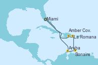 Visitando Miami (Florida/EEUU), Aruba (Antillas), Bonaire (Países Bajos), La Romana (República Dominicana), Amber Cove (República Dominicana), Miami (Florida/EEUU)