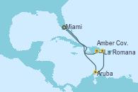 Visitando Miami (Florida/EEUU), Aruba (Antillas), Willemstad (Antillas), La Romana (República Dominicana), Amber Cove (República Dominicana), Miami (Florida/EEUU)