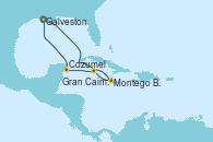 Visitando Galveston (Texas), Montego Bay (Jamaica), Gran Caimán (Islas Caimán), Cozumel (México), Galveston (Texas)