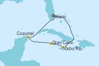 Visitando Miami (Florida/EEUU), Ocho Ríos (Jamaica), Gran Caimán (Islas Caimán), Cozumel (México), Miami (Florida/EEUU)