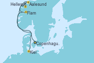 Visitando Copenhague (Dinamarca), Hellesylt (Noruega), Aalesund (Noruega), Flam (Noruega), Kiel (Alemania)