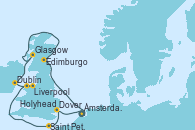 Visitando Ámsterdam (Holanda), Edimburgo (Escocia), Edimburgo (Escocia), Glasgow (Escocia), Dublin (Irlanda), Liverpool (Reino Unido), Holyhead (Gales/Reino Unido), Saint Peter´s Port (Reino Unido), Dover (Inglaterra), Ámsterdam (Holanda)