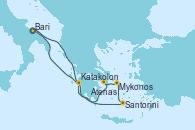 Visitando Bari (Italia), Santorini (Grecia), Mykonos (Grecia), Mykonos (Grecia), Atenas (Grecia), Katakolon (Olimpia/Grecia), Bari (Italia)