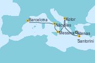 Visitando Atenas (Grecia), Santorini (Grecia), Kotor (Montenegro), Messina (Sicilia), Nápoles (Italia), Barcelona