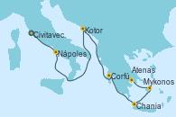 Visitando Civitavecchia (Roma), Nápoles (Italia), Kotor (Montenegro), Corfú (Grecia), Chania (Creta/Grecia), Mykonos (Grecia), Atenas (Grecia)