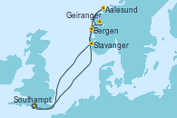 Visitando Southampton (Inglaterra), Bergen (Noruega), Geiranger (Noruega), Aalesund (Noruega), Stavanger (Noruega), Southampton (Inglaterra)