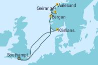 Visitando Southampton (Inglaterra), Bergen (Noruega), Geiranger (Noruega), Aalesund (Noruega), Kristiansand (Noruega), Southampton (Inglaterra)