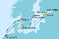 Visitando Ámsterdam (Holanda), Skagen (Dinamarca), Tallin (Estonia), San Petersburgo (Rusia), San Petersburgo (Rusia), Helsinki (Finlandia), Estocolmo (Suecia), Copenhague (Dinamarca), Ámsterdam (Holanda)