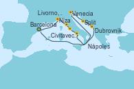 Visitando Barcelona, Niza (Francia), Livorno, Pisa y Florencia (Italia), Civitavecchia (Roma), Nápoles (Italia), Venecia (Italia), Venecia (Italia), Split (Croacia), Dubrovnik (Croacia), Barcelona