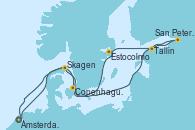 Visitando Ámsterdam (Holanda), Skagen (Dinamarca), San Petersburgo (Rusia), San Petersburgo (Rusia), Tallin (Estonia), Estocolmo (Suecia), Copenhague (Dinamarca), Ámsterdam (Holanda)