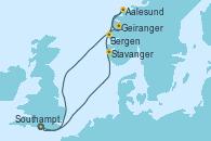 Visitando Southampton (Inglaterra), Stavanger (Noruega), Aalesund (Noruega), Geiranger (Noruega), Bergen (Noruega), Southampton (Inglaterra)