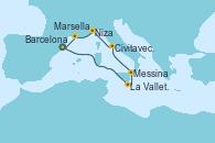 Visitando Barcelona, La Valletta (Malta), Messina (Sicilia), Civitavecchia (Roma), Niza (Francia), Marsella (Francia), Barcelona