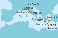 Visitando Barcelona, Cannes (Francia), La Spezia, Florencia y Pisa (Italia), Civitavecchia (Roma), Chania (Creta/Grecia), Atenas (Grecia), Mykonos (Grecia), Kusadasi (Efeso/Turquía), Santorini (Grecia), Barcelona