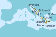 Visitando Venecia (Italia), Bari (Italia), Argostoli (Grecia), Heraklion (Creta), Santorini (Grecia), Rodas (Grecia), Atenas (Grecia), Dubrovnik (Croacia), Split (Croacia), Venecia (Italia)