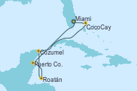 Visitando Miami (Florida/EEUU), Puerto Costa Maya (México), Roatán (Honduras), Cozumel (México), CocoCay (Bahamas), Miami (Florida/EEUU)