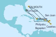 Visitando Fort Lauderdale (Florida/EEUU), Labadee (Haiti), San Juan (Puerto Rico), Philipsburg (St. Maarten), St. John's (Antigua), Castries (Santa Lucía/Caribe), Basseterre (Antillas), Fort Lauderdale (Florida/EEUU)