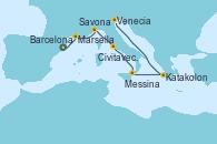 Visitando Barcelona, Marsella (Francia), Savona (Italia), Civitavecchia (Roma), Messina (Sicilia), Katakolon (Olimpia/Grecia), Venecia (Italia)