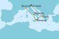Visitando Venecia (Italia), Corfú (Grecia), Messina (Sicilia), Nápoles (Italia), Savona (Italia)